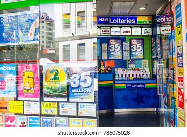 SYDNEY, AUSTRALIA. – On January 3, 2018. - New South wales Lotto tickets sell at newsagent shop in Sydney downtown.