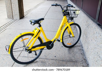 """SYDNEY, AUSTRALIA. – On January 8, 2018. - Yellow-colored bicycle """"Ofo (bike sharing)"""" is dockless Ofo system uses a smartphone app to unlock bicycles, charging an hourly rate for use."""