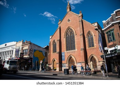 SYDNEY, AUSTRALIA. - On June 09, 2019. - Mission Uniting Church on King Street, Newtown, one of many historic buildings in New South Wales, is known for its history.