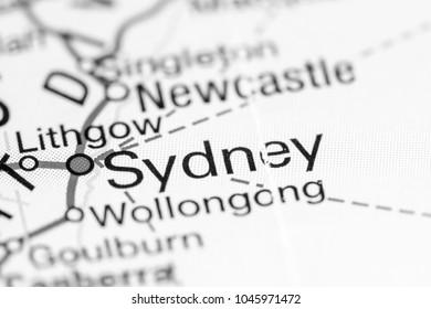 Sydney. Australia on a map