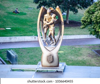 SYDNEY, AUSTRALIA. – On March 01, 2018. - The Giant size of Provan Summons trophy for NRL premiership is displayed at The Rocks.