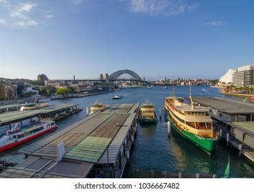 SYDNEY, AUSTRALIA. – On March 01, 2018. - Circular quay wharf with the view of Sydney harbour bridge.