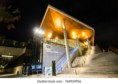 SYDNEY, AUSTRALIA. – On November 28, 2017. - Night photography of international exhibition and convention centre, It is located at Darling Harbour, Sydney Downtown.