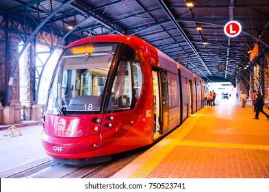 SYDNEY, AUSTRALIA. – On November 7, 2017. - Red light rail on the track at Central railway station.