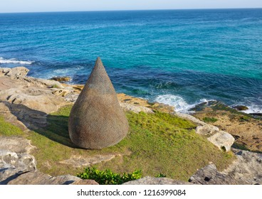 "SYDNEY, AUSTRALIA. – On October 23, 2018 – ""Flame"" is a sculptural artwork by Sally Stoneman at the Sculpture by the Sea annual events free to the public sculpture exhibition along the coastal walk."