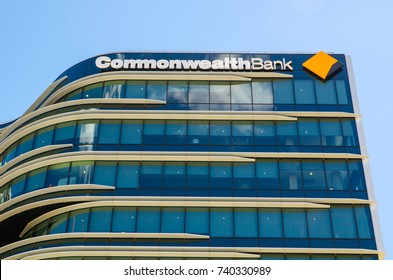 SYDNEY, AUSTRALIA. – On October 23, 2017. - Commonwealth Bank of Australia, the image shows beautiful design glass windows of its office building at Darling harbour branch.