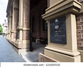 SYDNEY, AUSTRALIA. – On October 24, 2018. - The front of supreme court of New South Wales has supervisory jurisdiction over other NSW courts and tribunals, located on King street.