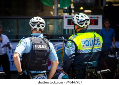 SYDNEY, AUSTRALIA. – On October 25, 2017 - New South Wales Police Force Bicycle Patrol in the event of Sydney Rides Festival at Martin Place.
