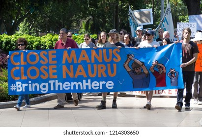SYDNEY, AUSTRALIA. – On October 27, 2018. -  At Hyde park,a hundred of protester to support refugees and demanding to Australia government for closing Manus and Naura refugee camp and bring them here.