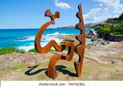 """SYDNEY, AUSTRALIA. – On October 29, 2017. – """" Fragments """" is a sculptural artwork by Tim Macfarlane Reid at the Sculpture by the Sea annual events free to the public sculpture exhibition."""