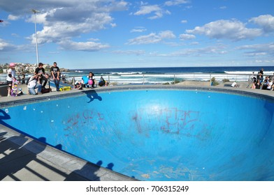 Sydney, Australia. - On September 12, 2011. - The exterior skate park in blue color on a cloudy day near Bondi beach.