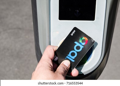 Sydney, Australia. - On September 17, 2017. - Opal card when tapping on and off at the Opal card reader in every Sydney's railway station.