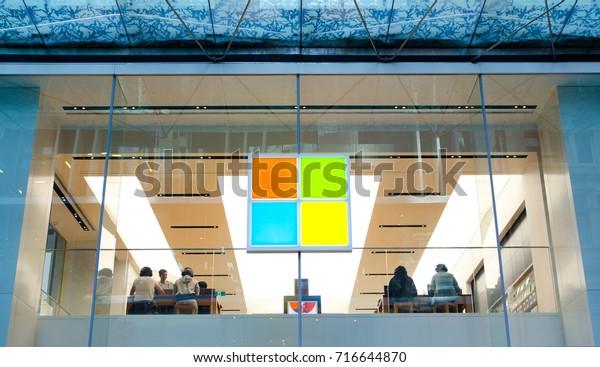 Sydney, Australia. - On September 17, 2017. - Logo of Microsoft store in the center point of Sydney.
