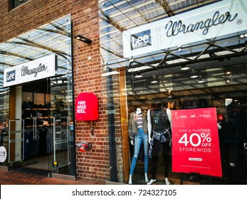 SYDNEY, AUSTRALIA. - On September 28, 2017. - Wrangler jeans and clothing retail store on 40 % off storewide at Birkenhead point shopping center.