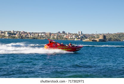 SYDNEY, AUSTRALIA. - On September 7, 2017 – Circular Quay OZ Adventure with the famous Red Shark Boat at Sydney harbour.