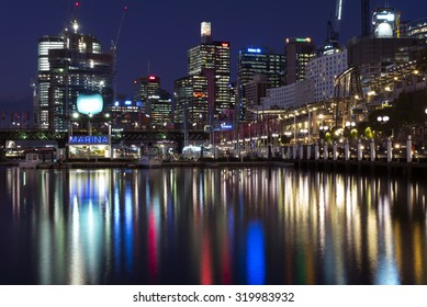 SYDNEY, AUSTRALIA - Sept 15, 2015 - Night view of Darling Harbour with reflection.