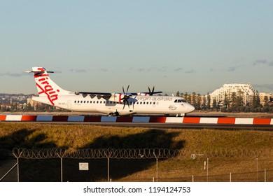 Sydney, Australia - September 1, 2018: Virgin Australia ATR 72 at Sydney Kingsford Smith Airport. Registration VH-VPJ