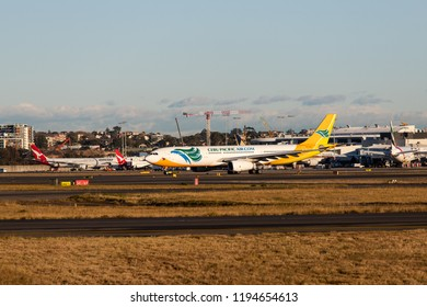 Sydney, Australia - September 1, 2018: Cebu Pacific Air Airbus A330 taxiing at Sydney Kingsford Smith Airport runway. Registration RP-C3345