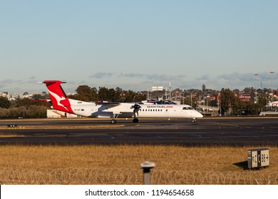 Sydney, Australia - September 1, 2018: Qantas Link Bombardier Dash 8 Q400 at Sydney Kingsford Smith Airport. Registration VH-QOY