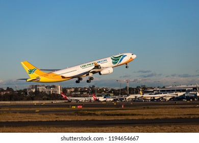 Sydney, Australia - September 1, 2018: Cebu Pacific Air Airbus A330 take off from Sydney Kingsford Smith Airport. Registration RP-C3345