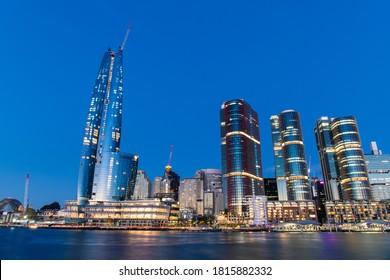 Sydney, Australia - September 12, 2020: Crown Towers and International Towers at Barangaroo at dusk.
