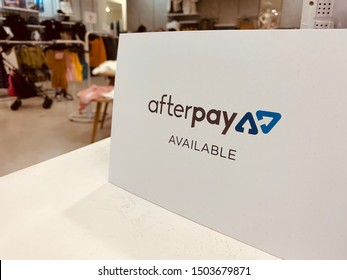 Sydney, Australia - September 14, 2019: Afterpay is a buy now pay later service provider.
