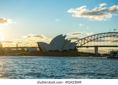 SYDNEY AUSTRALIA - SEPTEMBER 16, 2016 : View of Sydney Opera house from Mrs Macquarie's chair during sunset on September 16. 2016