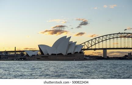 SYDNEY AUSTRALIA - SEPTEMBER 16, 2016 : View of Sydney Opera house before sunset time on 16 September 2016.