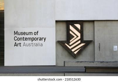 SYDNEY, AUSTRALIA - SEPTEMBER 17, 2014;  Museum of Contemporary Art Australia and animated arrow.