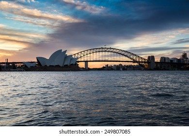 Sydney, Australia - September 19: View of the Opera House and Harbour Bridge, the two most iconic landmarks in Sydney, Australia on September 19, 2014.
