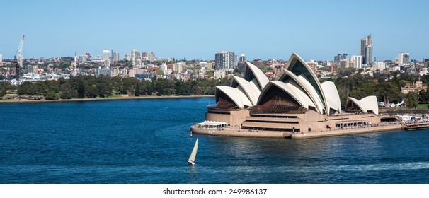 Sydney, Australia - September 19: View of the Opera House from the Harbour Bridge in Sydney, Australia on September 19, 2014.