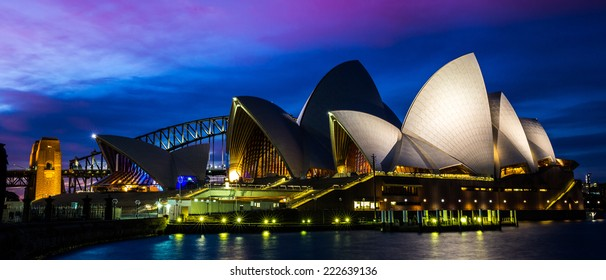Sydney, Australia - September 20: The Sydney Opera House with the Harbor Bridge in the background, in Sydney, Australia on September 20, 2014.