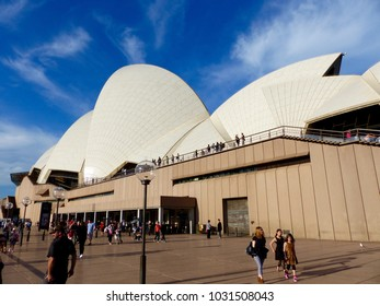Sydney, Australia. September 2015. People walking in the forecourt of the Sydney Opera House.