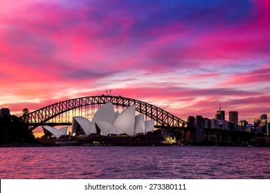 Sydney, Australia - September 21: The Sydney Opera House at sunset in Sydney, Australia on September 21, 2014.