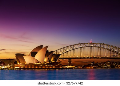 SYDNEY AUSTRALIA - SEPTEMBER 5, 2013 : Opera House view from Mrs Macquarie's Chair on twilight time in evening on September 5, 2013 in Sydney, Australia