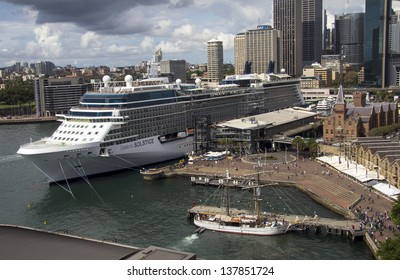SYDNEY, AUSTRALIA-APR 7: The cruise ship Celebrity Solstice in Sydney Harbour on April 7th 2013. This ship is the first in the Solstice class and was launched in 2008.