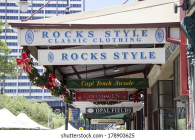 SYDNEY, AUSTRALIA-December 19th 2913: Signs in the Rocks area of Sydney. The Rocks is the oldest area of Sydney and has now become a vibrant tourist area.