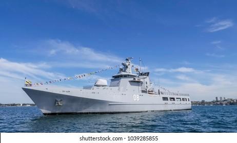 SYDNEY, AUSTRALIA-OCTOBER 4,2013 : KDB Darulama (OPV 08) Royal Brunei Navy Offshore Patrol Vessel anchor in Sydney harbour in International Fleet Review Sydney 2013 on Oct. 4,2013 in Sydney Australia.