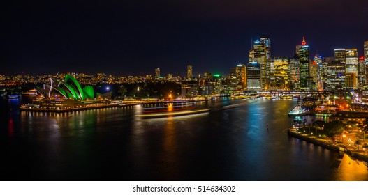Sydney, Australia's biggest city at nighttime from harbour bridge