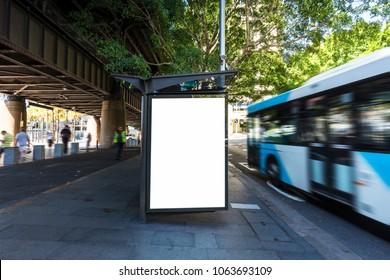 Sydney bus station, blank billboard on platform