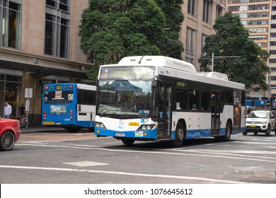 Sydney busses running on George street, one of Sydney public transport to connect people from urban side. Australia:15/04/18