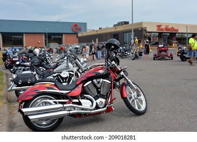 SYDNEY, CANADA - AUG 2:  Thousands of motorcycle enthusiasts gather for the first annual Cape Breton Bike Rally, a four day event, held mainly at Centre 200 on August 2, 2014 in Sydney, Nova Scotia