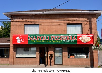 SYDNEY, CANADA - AUG 4, 2017:  Napoli Pizzeria on Charlotte St is a family run business established in 1962.  It is very popular with Cape Bretoners at home and away.