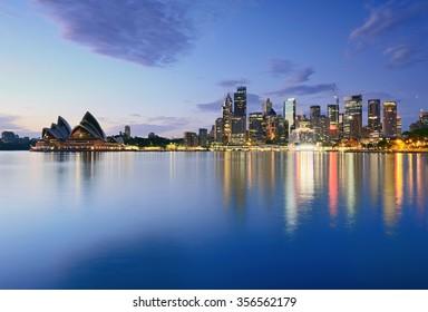 Sydney CBD night view taken from Milsons Point