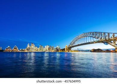 Sydney CBD with view of Harbour Bridge and Opera House