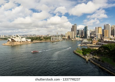 The Sydney Central business district skyline and the Sydney harbor and the Circular quay on a sunny day in Australia largest city.