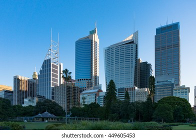 Sydney Central Business District skyline viewed from the Domain. Downtown skyscrapers of Sydney city with copy space. NSW, Australia