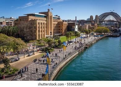 SYDNEY - CIRCA AUGUST 2016: The Museum of Contemporary Art Australia and the Harbour Bridge in Circular Quay, Sydney, Australia