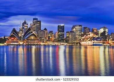 Sydney city CBD landmarks across harbour around business towers of circular quay and international passengers terminal.