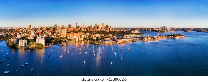 Sydney city CBD landmarks on waterfront of Sydney harbour in aerial view from Potts point over Darling point and Woolloomooloo.